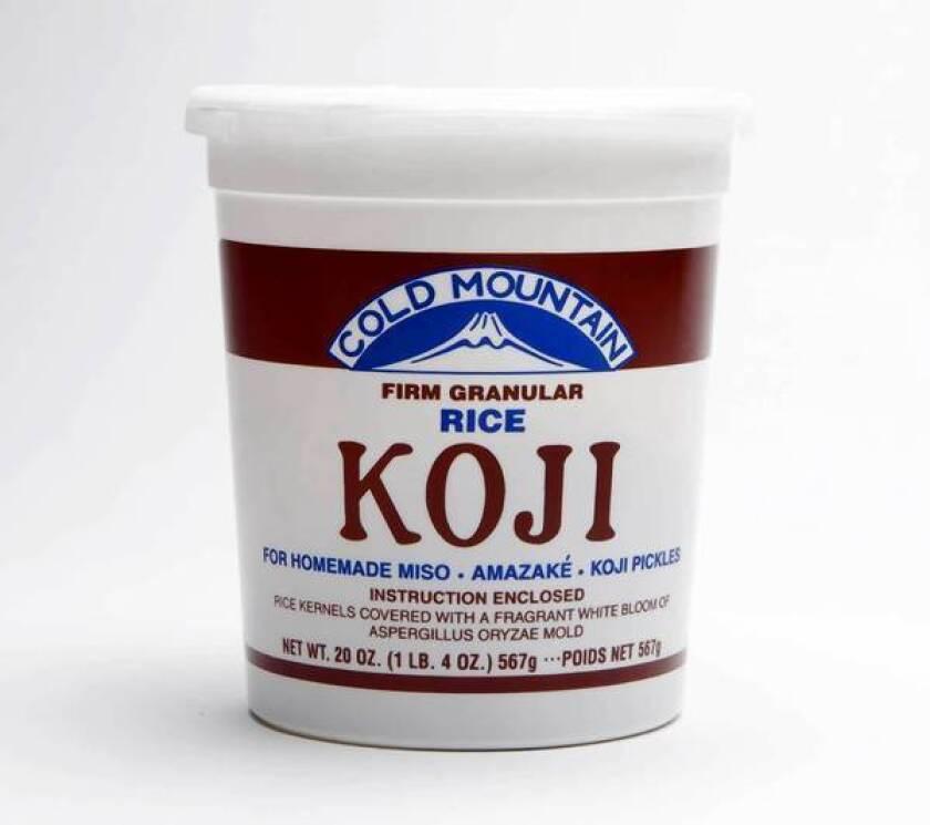 A tub of Cold Mountain rice koji.