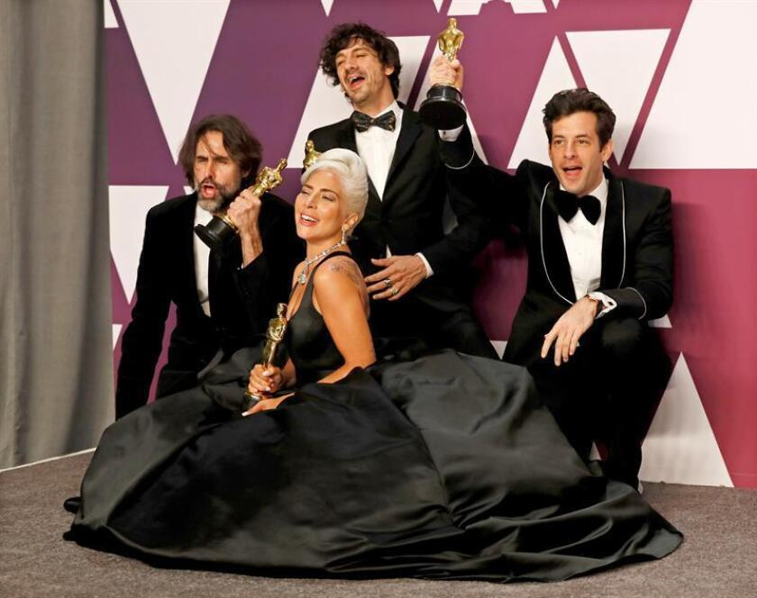 Andrew Wyatt, Anthony Rossomando, Mark Ronson and Lady Gaga pose with the Oscar for Music (Original Song) for 'Shallow' in the press room during the 91st annual Academy Awards ceremony at the Dolby Theatre in Hollywood, California, USA. EFE/EPA