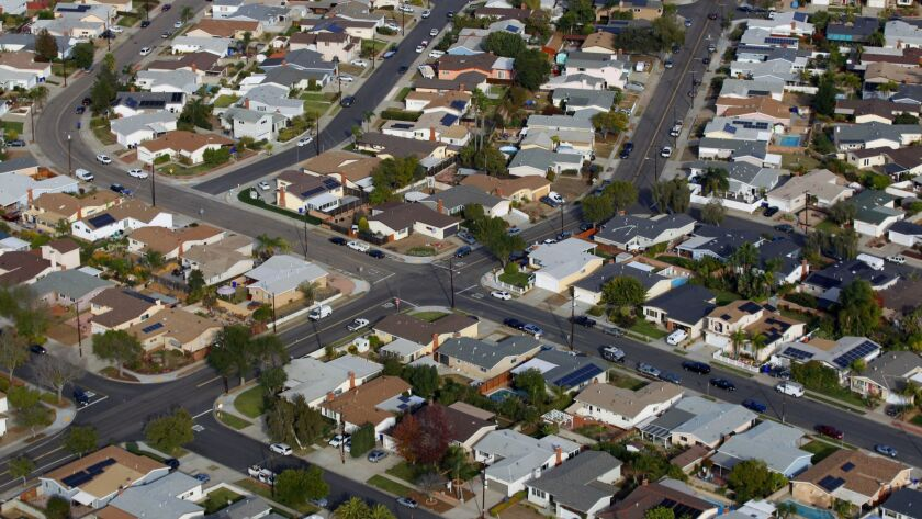 A aerial view of houses in the San Diego neighborhood of Clairemont on Friday, Dec. 8, 2017. (Photo by K.C. Alfred/The San Diego Union-Tribune)