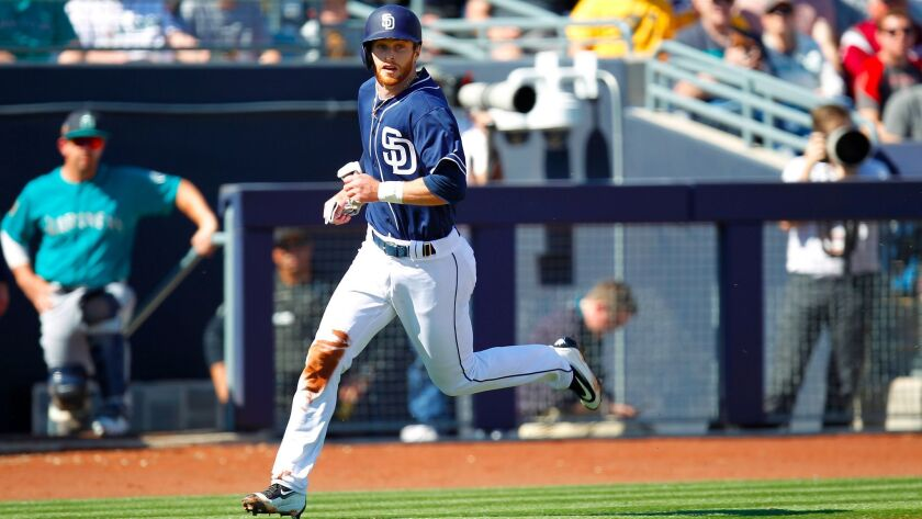 San Diego Padres Cory Spangenberg rounds the bases during a game against the Seattle Mariners in P