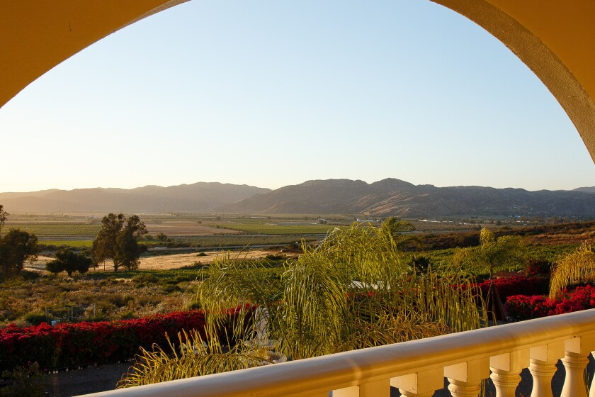 View of the Guadalupe Valley from a balcony at the Hacienda Guadalupe.