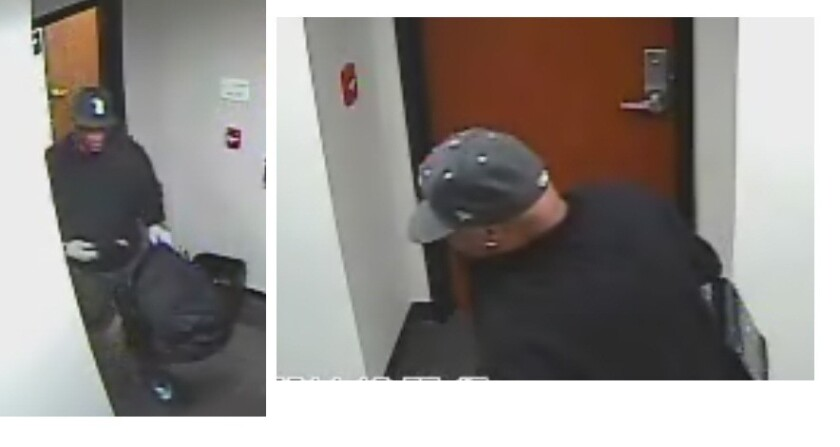 Sutherland Healthcare Solutions released surveillance images of a suspect in a break-in at its Torrance office.