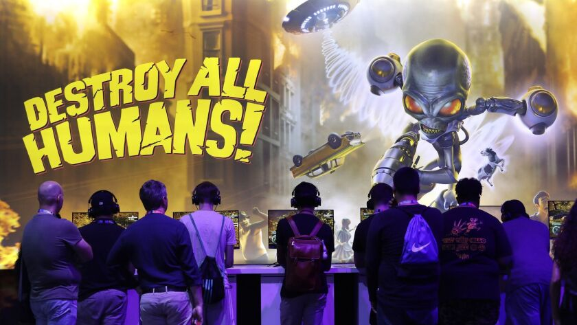 """LOS ANGELES, CA -- JUNE 11, 2019: """"Destroy All Humans!"""" at the THQ Nordic booth during E3 at the Los"""