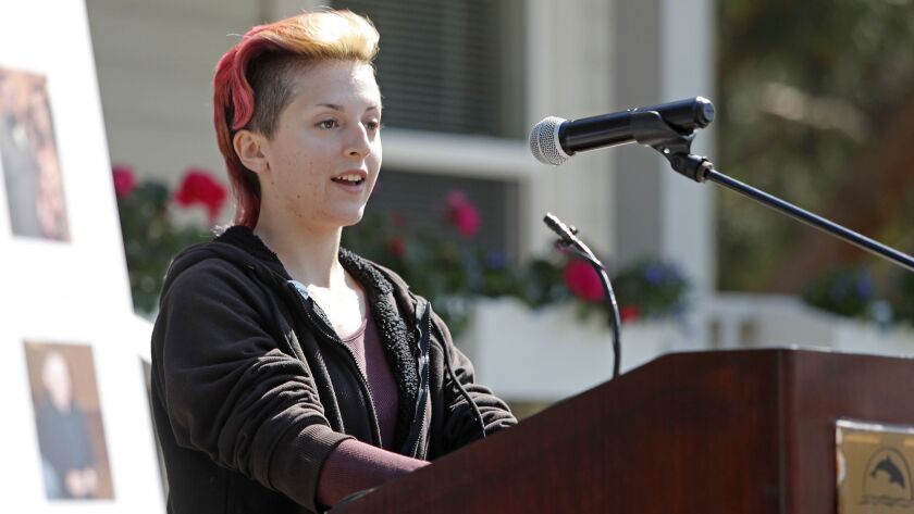 Former resident Rachel Wickstrom, 17, of Huntington Beach speaks during Waymakers Huntington Beach Y