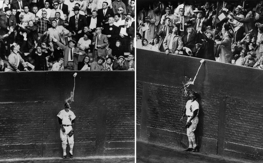 Oct. 2, 1959: Two views of Chicago White Sox outfielder Al Smith getting drenched by a cup of beer spilled by a fan as he tries to catch a home run ball at Chicago's Comiskey Park during the 1959 World Series.