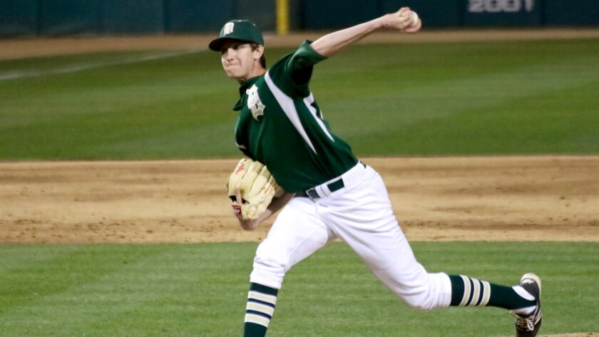 Damien left-hander Nick Lodolo delivers a pitch against Santa Margarita at Dedeaux Field.