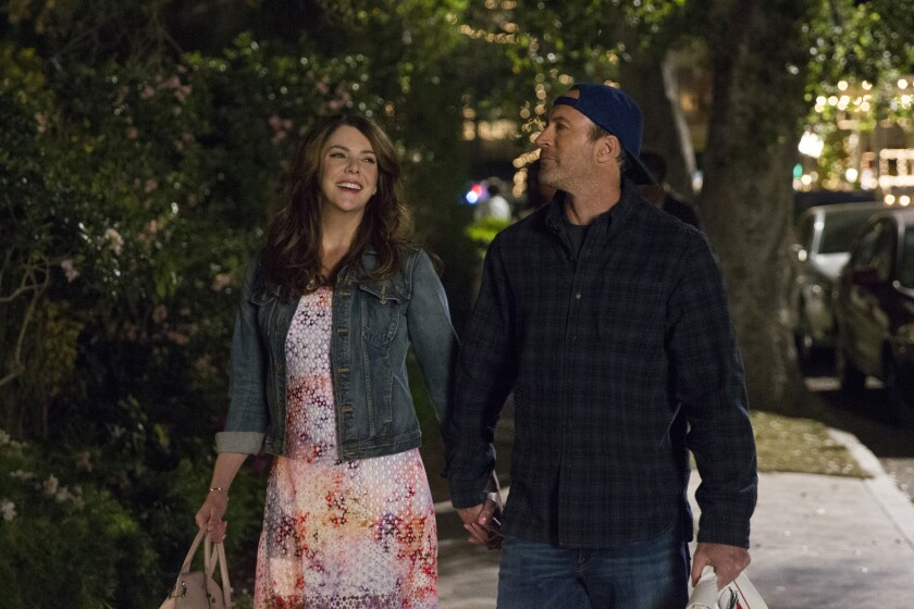 "Lauren Graham as Lorelai Gilmore and Luke Danes as Scott Patterson in Netflix's ""Gilmore Girls"" revival, which includes four 90-minute mini-movies and picks up in the present day."