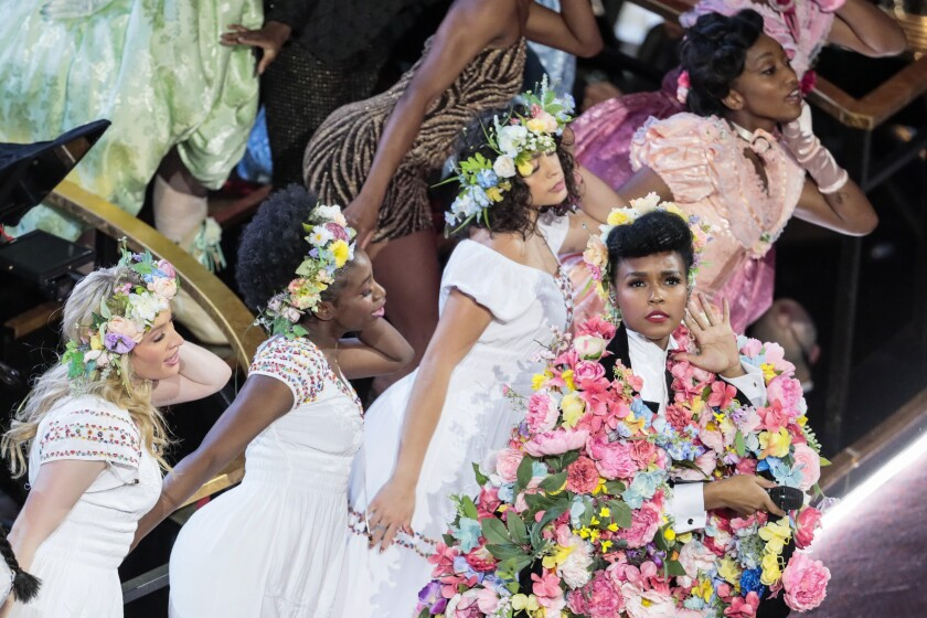 """Janelle Monáe opens the Oscars with, among so much else, dancers in """"Midsommar"""" cosutumes."""