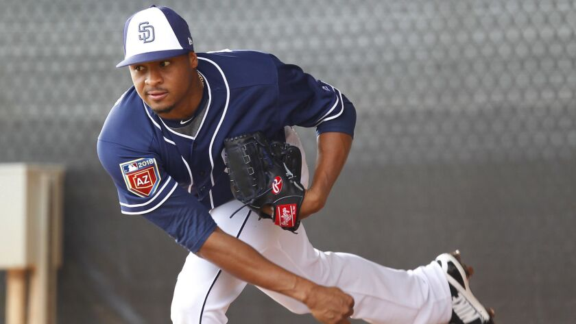 Padres pitcher Luis Perdomo throws a bullpen earlier this spring.