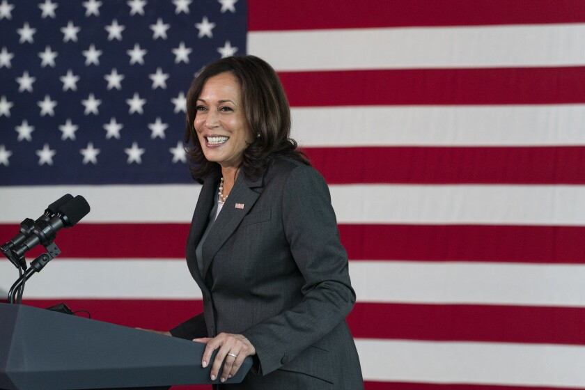 Vice President Kamala Harris speaks at a vaccination site