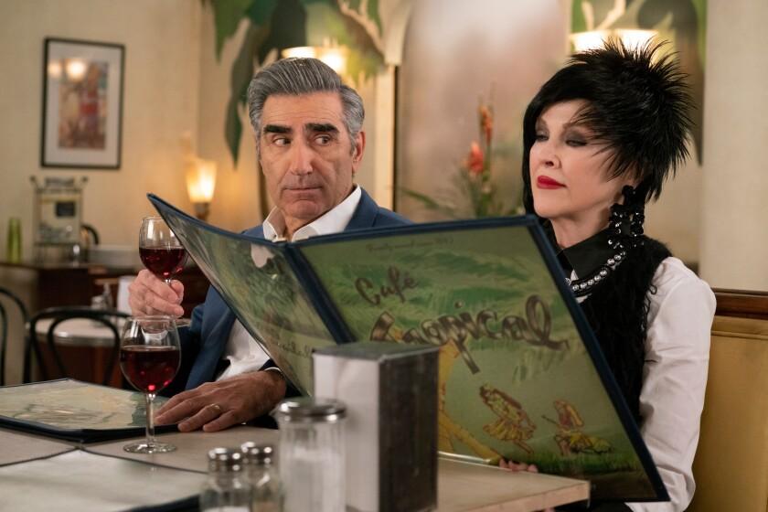 (L-R)- Scene from PopTV's Schitt's Creek shows Eugene Levy and Catherine O'Hara. Credit: PopTV