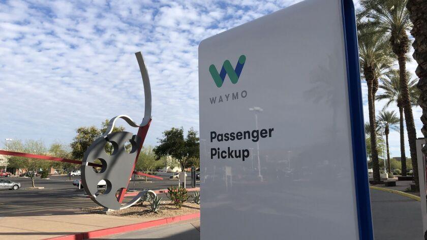 A Waymo robotaxi pickup spot in Arizona.