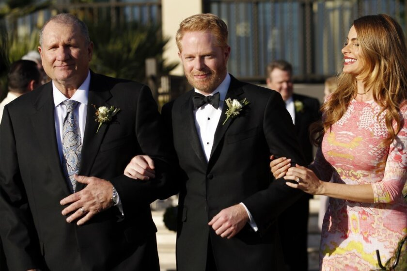 """Ed O'Neill, left, Jesse Tyler Ferguson and Sofia Vergara in the season finale of """"Modern Family."""" The ABC show was among the Emmy nominees for comedy series."""