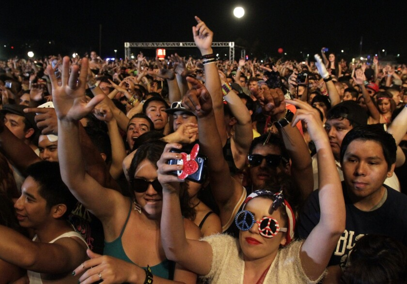 Fans at the 2012 Hard Summer music festival in front of the stage during Nero's performance.