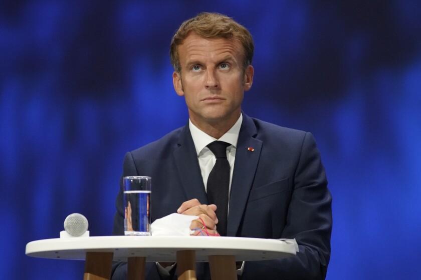 Foto de archivo del 14 de septiembre de 2021, del presidente francés Emmanuel Macron