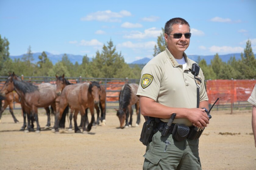 Modoc County Sheriff Tex Dowdy prepares for the annual Fourth of July parade.