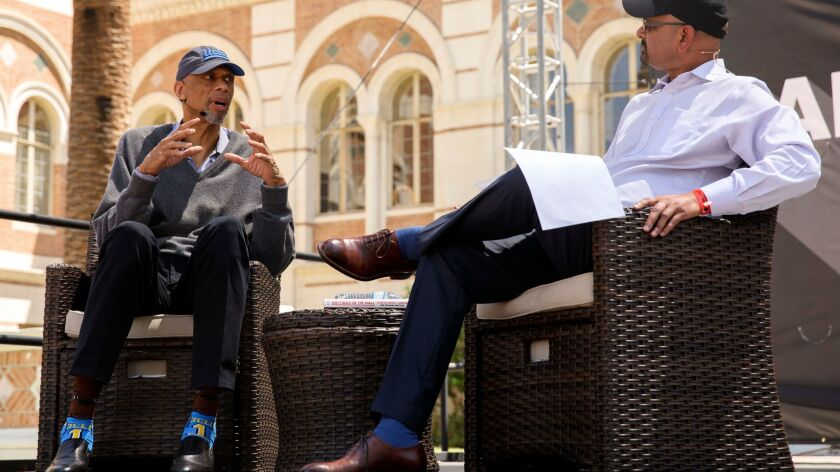 Kareem Abdul-Jabbar speaks with L.A. Times editor Davan Maharaj at the Festival of Books.