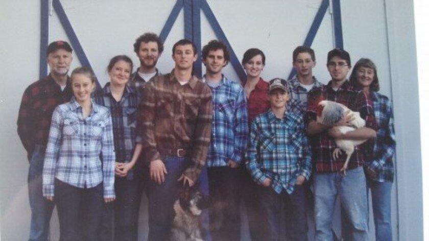 Schaner family (l-r): Peter, Rose, Amy, Dominic, Noah, Luke, Sara, Joseph, Paul, Jacob, Kayne