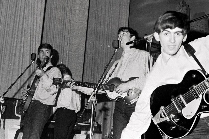 GERMANY - MAY 01: Photo of (L-R) singer-guitarist John Lennon, singer-bassist Paul McCartney and guitarist George Harrison of The Beatles, live onstage circa May 1962 at the Star-Club in Hamburg, Germany. (Photo by K & K Ulf Kruger OHG/Redferns) ** OUTS - ELSENT, FPG, CM - OUTS * NM, PH, VA if sourced by CT, LA or MoD **
