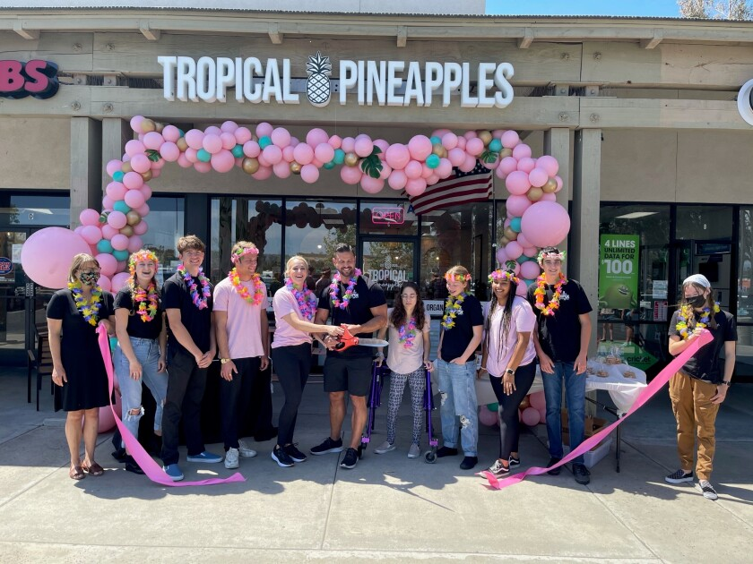 Peter San Nicolas and his wife Shayna, held a grand opening Saturday for their Tropical Pineapples smoothie shop in Ramona.