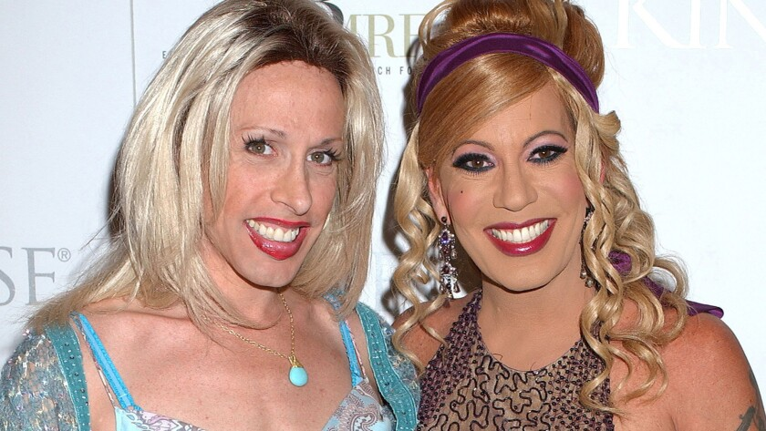 Alexis Arquette, left, and Bel Air at a West Hollywood Comedy Store benefit show in 2006.