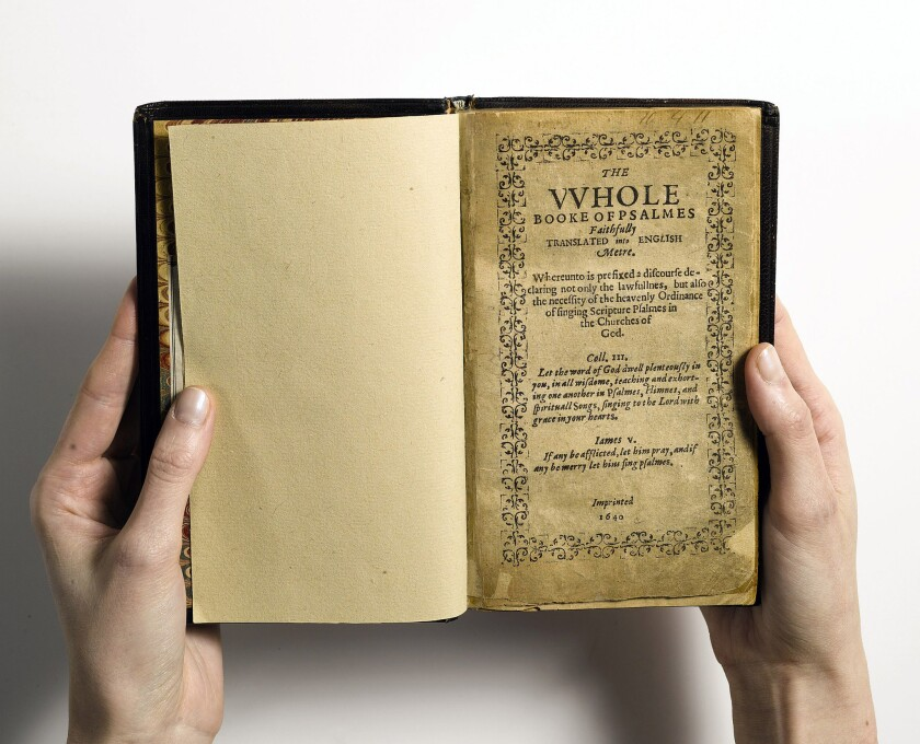 The Bay Psalm Book, thought to be worth more than $15 million, will be on view in Los Angeles.