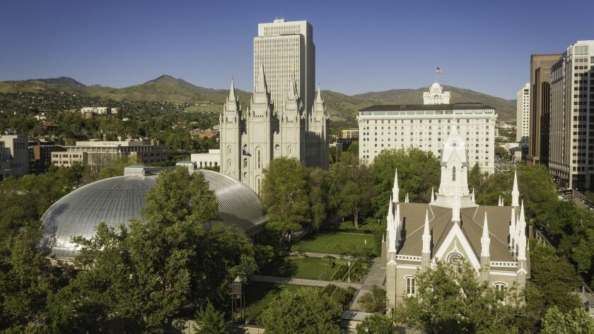 Mormon-related landmarks dominate downtown Salt Lake City.