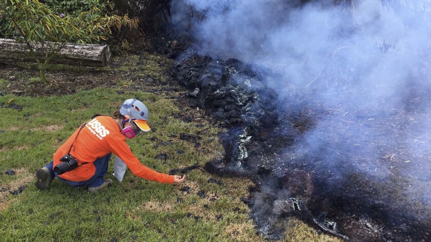 FILE - In this May 6, 2018, file photo provided by the U.S. Geological Survey, a Hawaii Volcano Obse