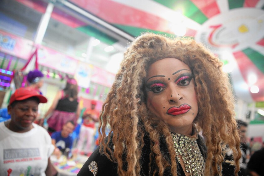 A reveler takes part in the Gay Glam Ball in February in Rio de Janeiro.
