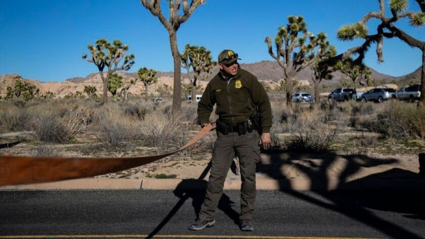 Park Ranger Dylan Moe closes the access road to a campground at Joshua Tree National Park on Jan. 2. All of the park's campgrounds have been closed because of the partial government shutdown.