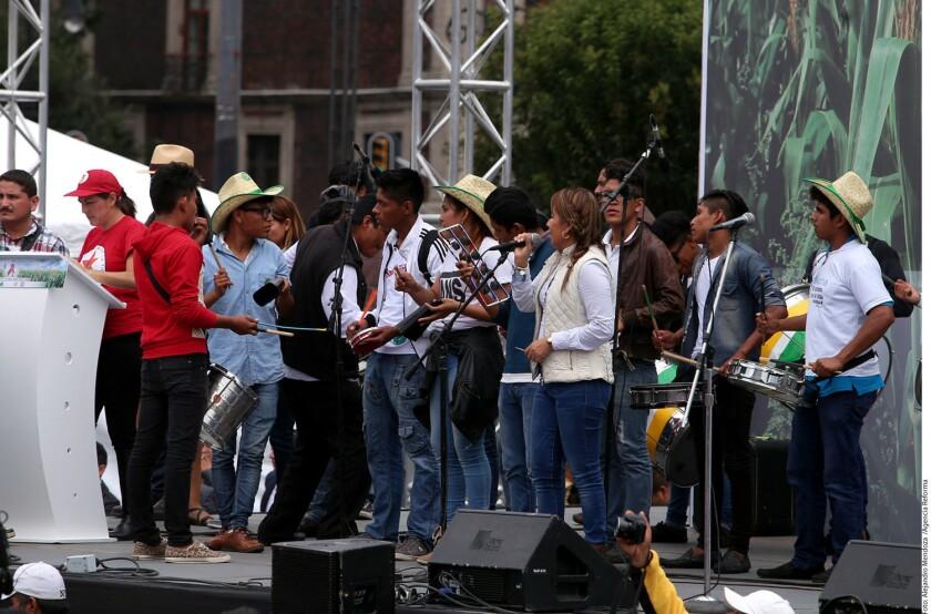 El mitin de organizaciones campesinas inició luego que contingentes de campesinos que salieron de distintos puntos de la Ciudad de México, arribaron a la Plaza de la Constitución.