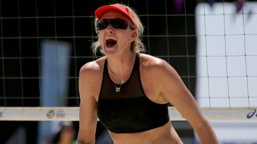 LONG BEACH, CALIF. -- THURSDAY, JULY 13, 2017: Kerri Walsh Jennings celebrates a point with partner