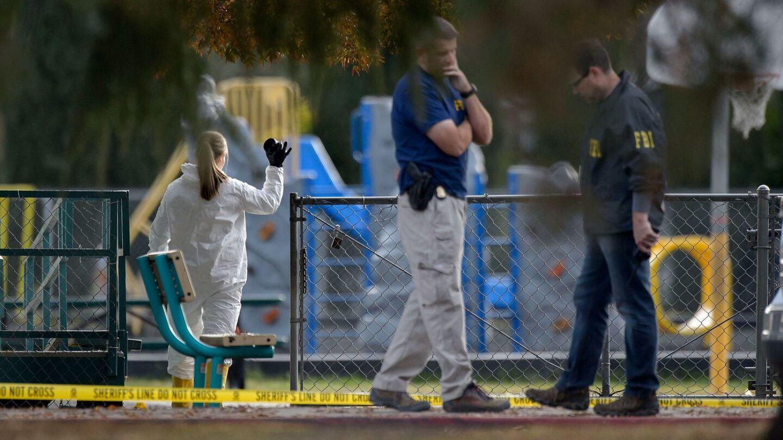 FBI investigators process evidence at the Rancho Tehama Elementary School on Tuesday.