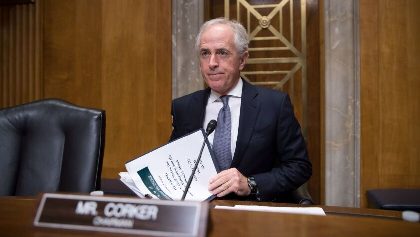 Sen. Bob Corker, R-Tenn., arrives to lead a hearing about the future of U.S. relations with Russia on Capitol Hill in Washington on Feb. 9.