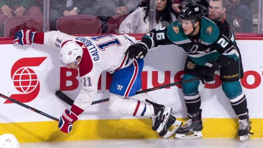 Montreal Canadiens' Brendan Gallagher takes a hit from Ducks' Brandon Montour during the second period on Tuesday.