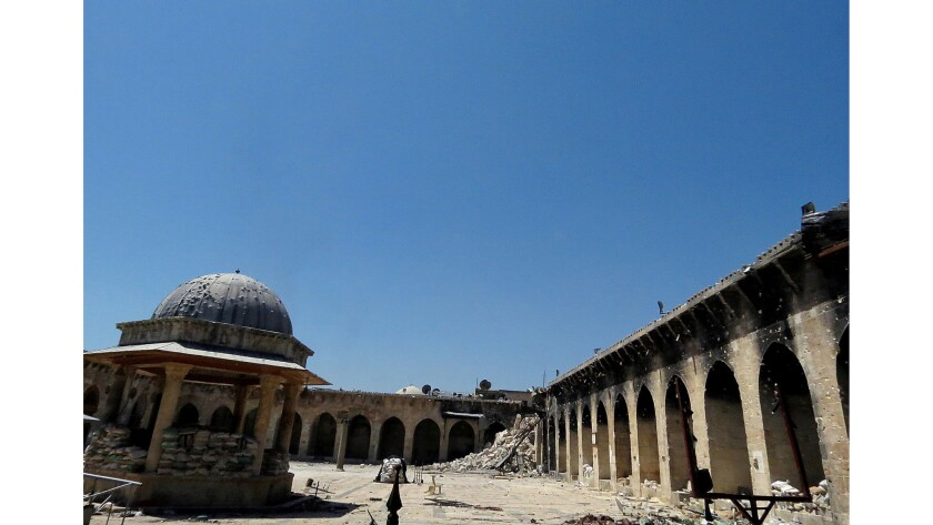 The minaret at Aleppo's Umayyad mosque was toppled in 2013.