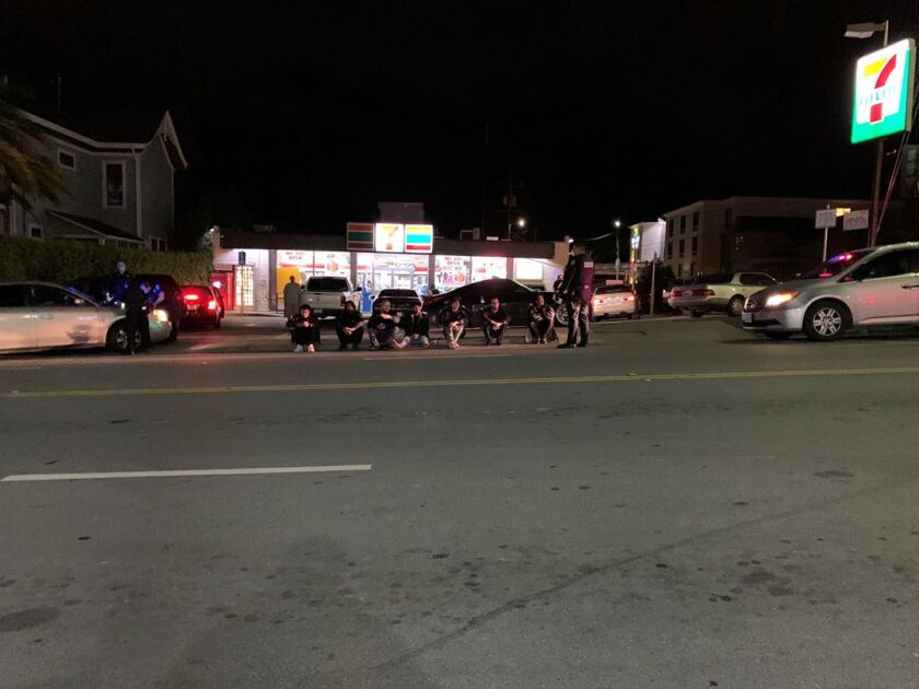 Santa Cruz police ticketed seven out-of-towners who gathered at a 7-Eleven.