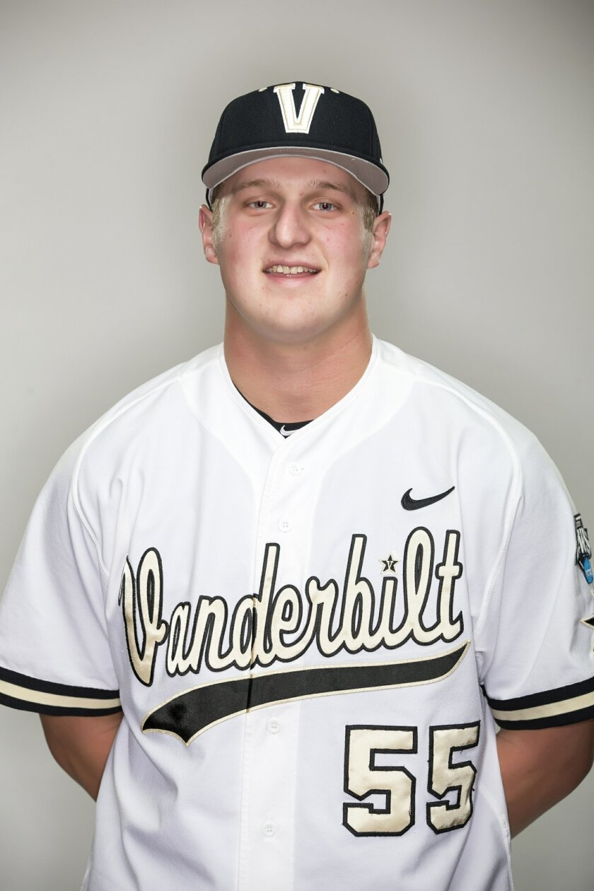 This November 2015 photo provided by Vanderbilt University shows freshman pitcher Donny Everett. Officials report Everett drowned Thursday, June 2, 2016, while fishing in Tennessee. He was 19. (Joe Howell/Vanderbilt University via AP)