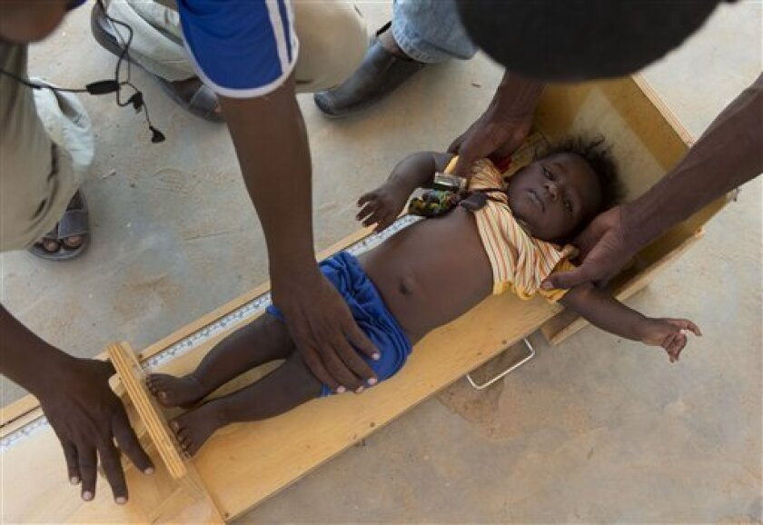 In this Nov. 4, 2012 photo, health workers measure the height of a boy during a mobile clinic to identify cases of underweight, stunted, or malnourished children, in Michemire, in the Mao region of Chad. A survey conducted in the county found that 51.9 percent of the children are stunted, one of th
