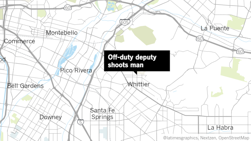 "Label reading ""Off-duty deputy shoots man"" points to a spot in Whittier on a map"