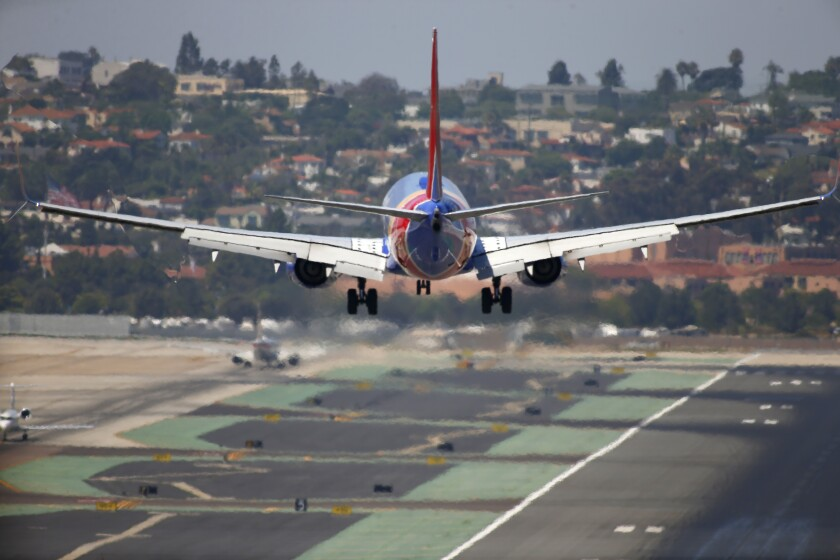 A Southwest Airlines jet approaches San Diego International Airport.