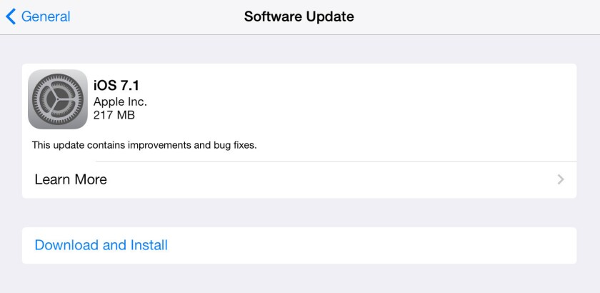 Apple issued iOS 7.1, an update for its iPhone and iPad software.