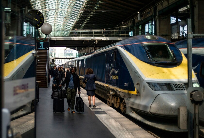 Passengers arrive at Gare du Nord station in Paris after traveling on a Eurostar train from London in April 2019.