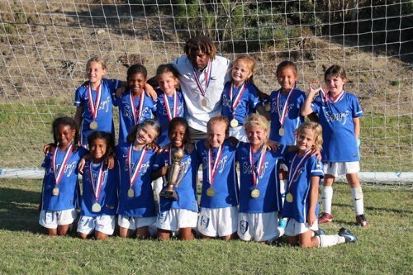 San Diego Surf U8 Team: From attached photo after West Coast Futbol Classic: Top row (L-R): Bailey Lapidow, Mia Savage, Alanah Ramirez, Coach Leacock, Madison Simpson, Paige Buchner, Peyton Johnson; Bottom row (L-R): Kai Pitt, Soleil Dimry, Taylor Edwards, Kayla Inniss, Nora Gauvreau, Kate Dalton, Katie Toomey.