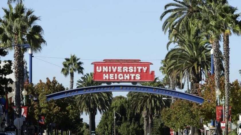 The University Heights sign stands at Park Boulevard and Madison Avenue. (K.C. Alfred)