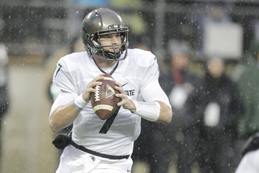 FILE - In this Nov. 21, 2015, file photo, Michigan State quarterback Tyler O'Connor plays against Ohio State during an NCAA college football game in Columbus, Ohio. Michigan State quarterback Connor Cook said after the Ohio State game he was having some pain in his right shoulder so we'll see if he is ready to go against Penn State on Saturday.(AP Photo/Jay LaPrete, File)