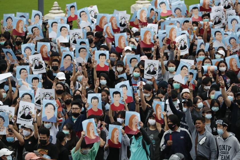 La protesta en Bangkok, Tailandia el 18 de octubre del 2020.