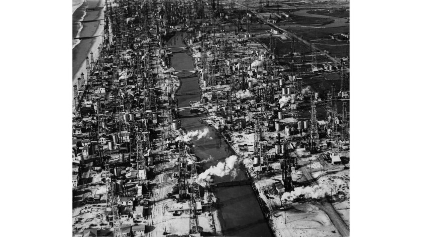 January 1931: The Grand Canal in Venice is surrounded by oil derricks.