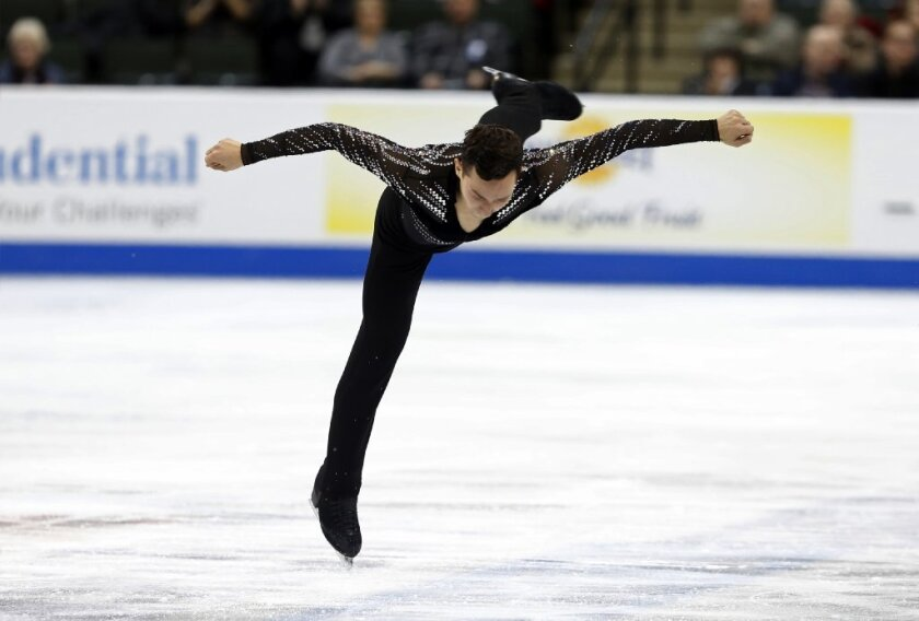 Adam Rippon performs during the mens' short program of the U.S. Figure Skating Championships on Jan. 22.