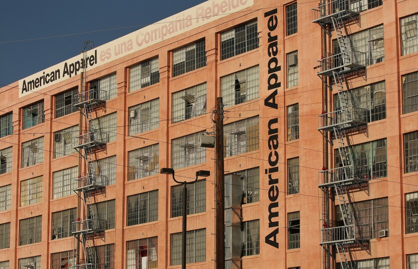 American Apparel's headquarters and manufacturing building on Alameda and 7th streets in Los Angeles.